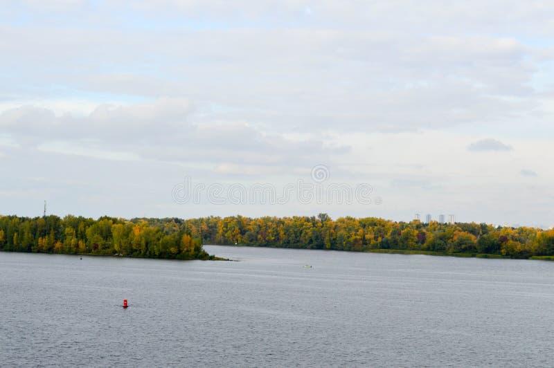 Den röda bojet svävar mot bakgrunden av träd på fotografering för bildbyråer