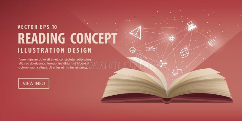 Den röda boken är öppen, ser symbolen till kunskap och att lära royaltyfri illustrationer