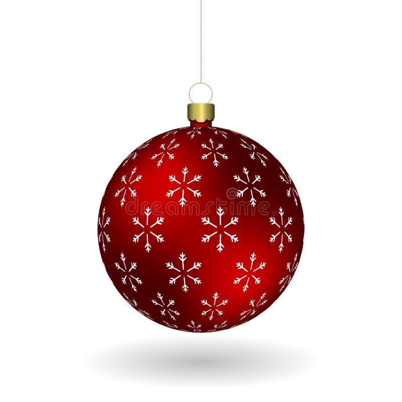 Den röda Christmass bollen med snöflingor skrivar ut att hänga på en guld- kedja royaltyfri illustrationer