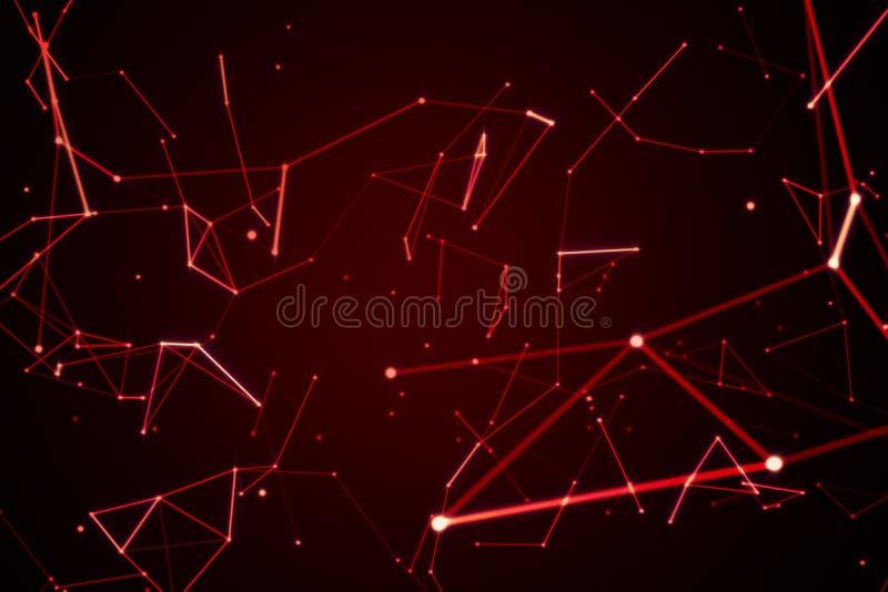 Den röda digitala data- och för nätverksanslutning triangeln fodrar för techn vektor illustrationer