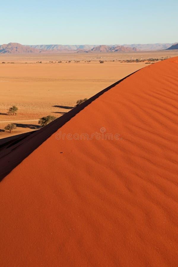 Den röda dyn nära ingången av Sossusvlei och Deadvlei i Naukluft parkerar i öken för de Namib i Namibia arkivfoto