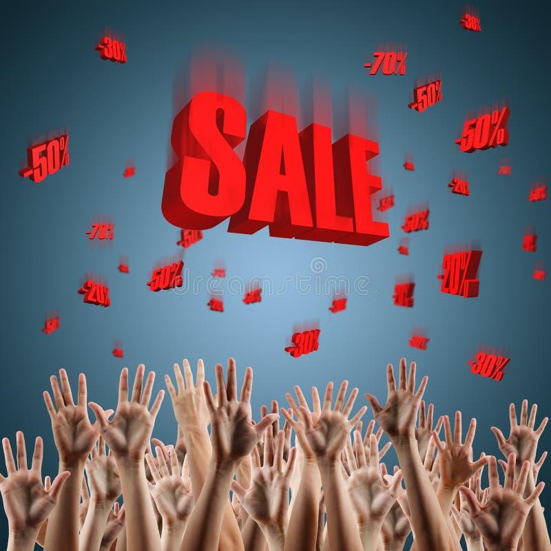 Den röda försäljningen undertecknar över blå röd lutningbakgrund 3d stock illustrationer