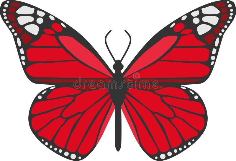 Den röda fjärilen royaltyfri illustrationer