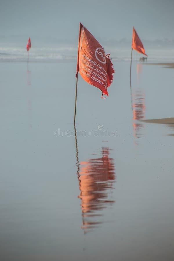 Den röda flaggan förbjuder simning royaltyfria foton