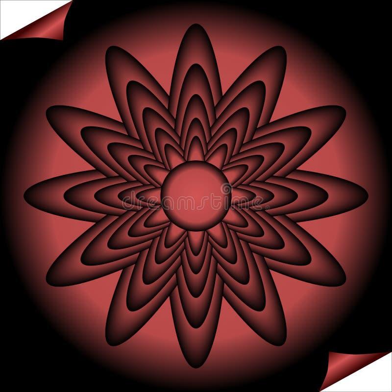 Den röda fractalen inspirerade blomman i cirkelform på svart bakgrund, optisk konststil royaltyfri illustrationer
