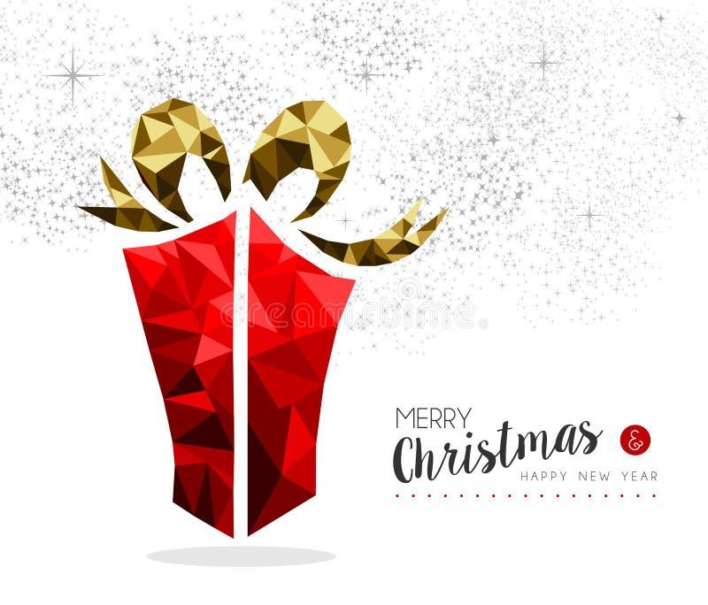 Den röda gåvaasken för jul kryddar hälsningkortet vektor illustrationer