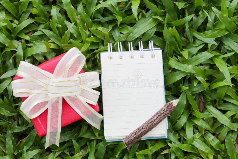 Den röda gåvaasken och anmärkningspapper har träblyertspennan som förläggas på gräsplan l royaltyfri foto