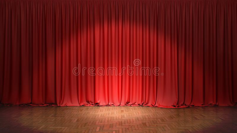 Den röda gardinen royaltyfri foto