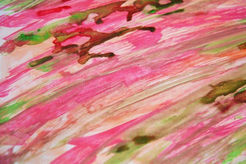 Den röda gröna rosa vattenfärgen färgar, hypnotisk abstrakt bakgrund royaltyfria foton