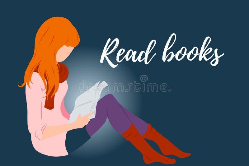 Den röda hårflickan, damen som läser en plan stilillustration för bok för utbildning, böcker shoppar, tidskriftpromoen, modeaffis royaltyfri illustrationer