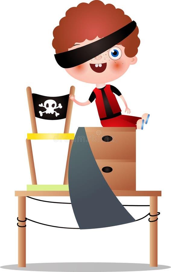 Den röda hårpojken med blåtiramusikbandlek piratkopierar royaltyfri illustrationer