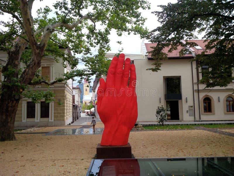 Den röda handen från den Baia stoen royaltyfri bild