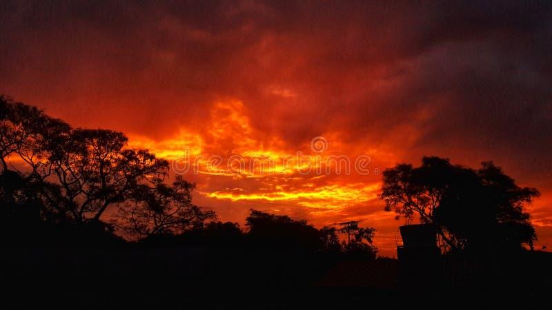 Den röda himlen arkivbild