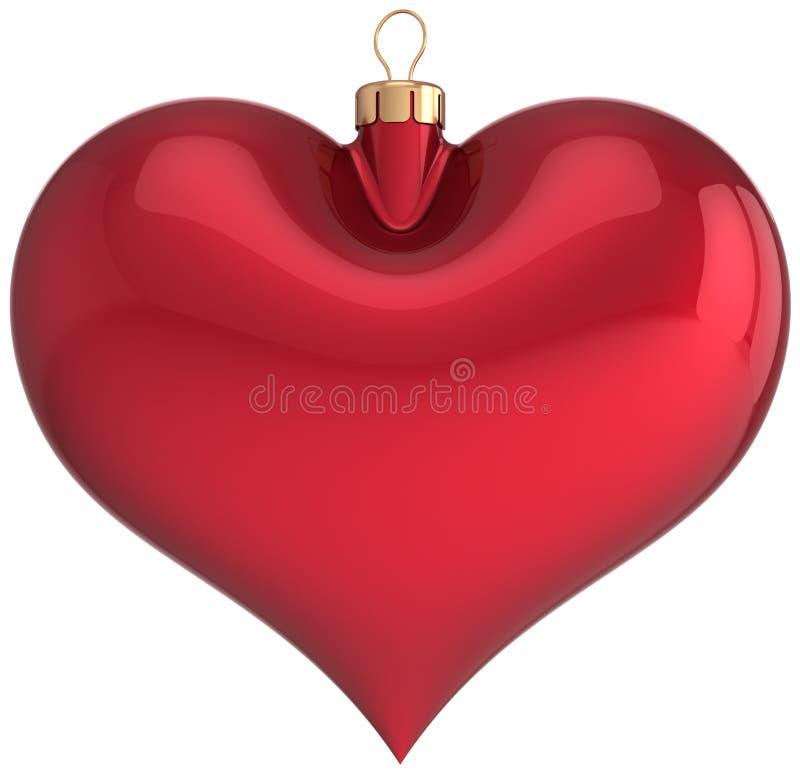 Den röda julen klumpa ihop sig den hjärta formade tomma garneringen stock illustrationer