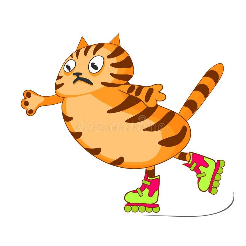 Den röda katten är rädd, men rider på rullskridskor Vektortecknad filmbild stock illustrationer