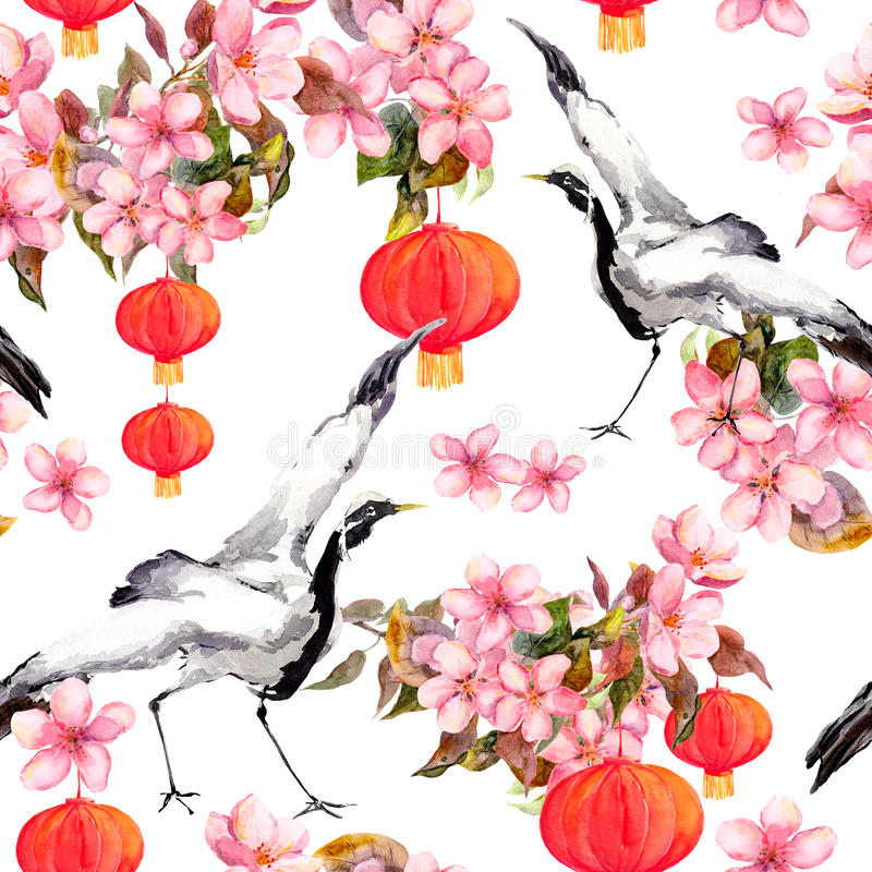 Den röda kinesiska lyktan i vårrosa färger blommar - äpplet, plommonet, körsbäret, sakura och danskranfåglar seamless modell stock illustrationer