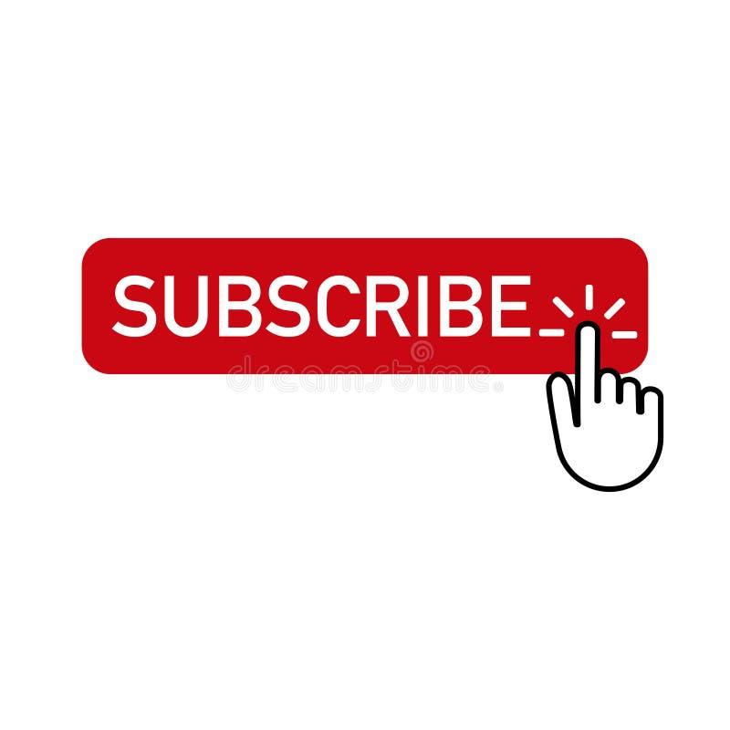 Den röda knappen prenumererar med handen som klickar på stock illustrationer