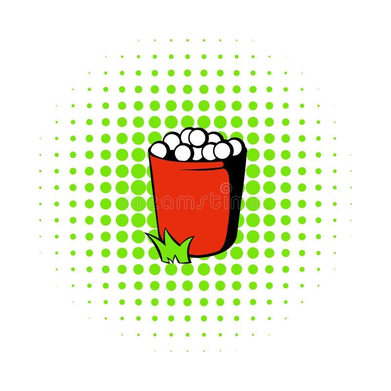 Den röda korgen med golfbollsymbolen, komiker utformar royaltyfri illustrationer