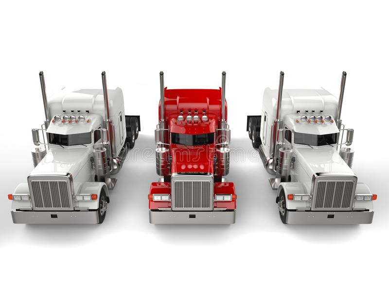 Den röda lastbilen för 18 person som drar en skottkärra - mellan två vita lastbilar - överträffa in ner sikt stock illustrationer