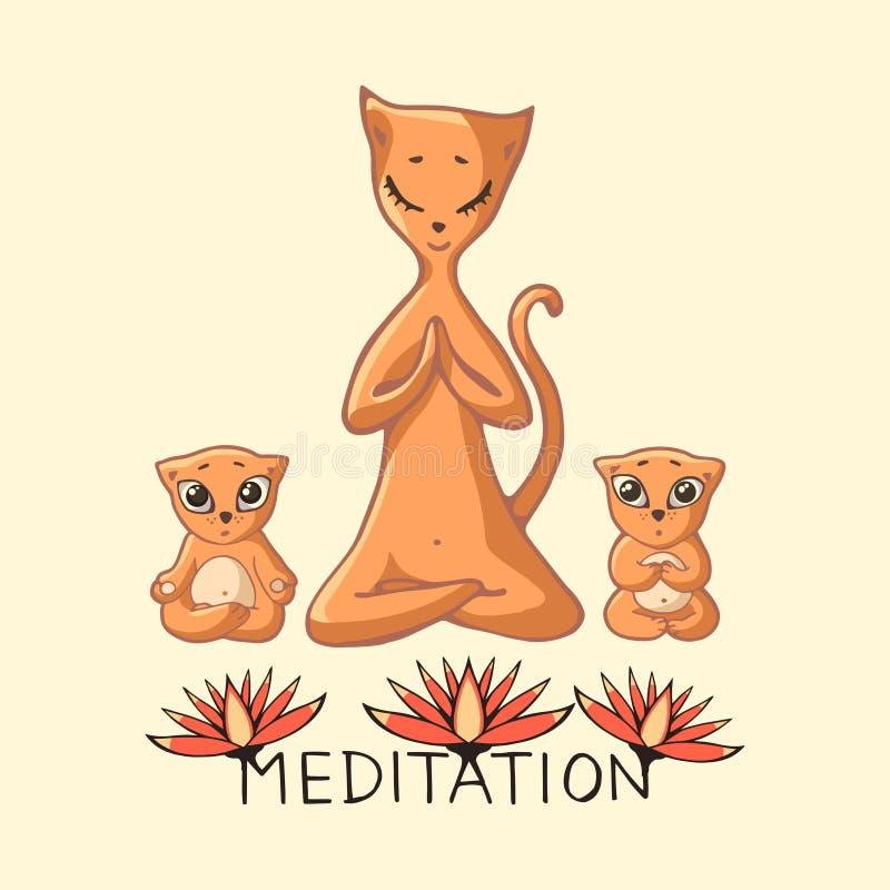 Den röda Mamma-katten med två barn mediterar med inskriften och royaltyfri illustrationer