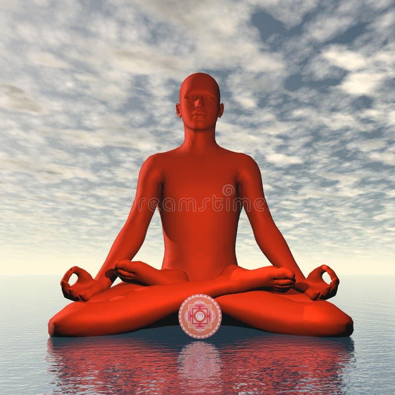 Den röda muladharaen eller rotar chakrameditation - 3D framför royaltyfri illustrationer