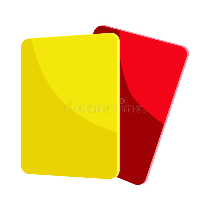 Den röda och gula domaren cards symbolen, tecknad filmstil stock illustrationer