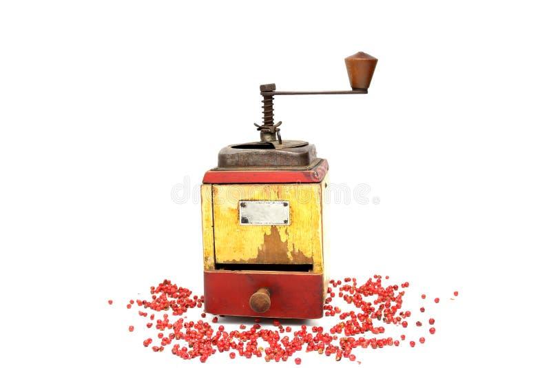 Den röda pepparen med gammal peppar maler royaltyfri fotografi