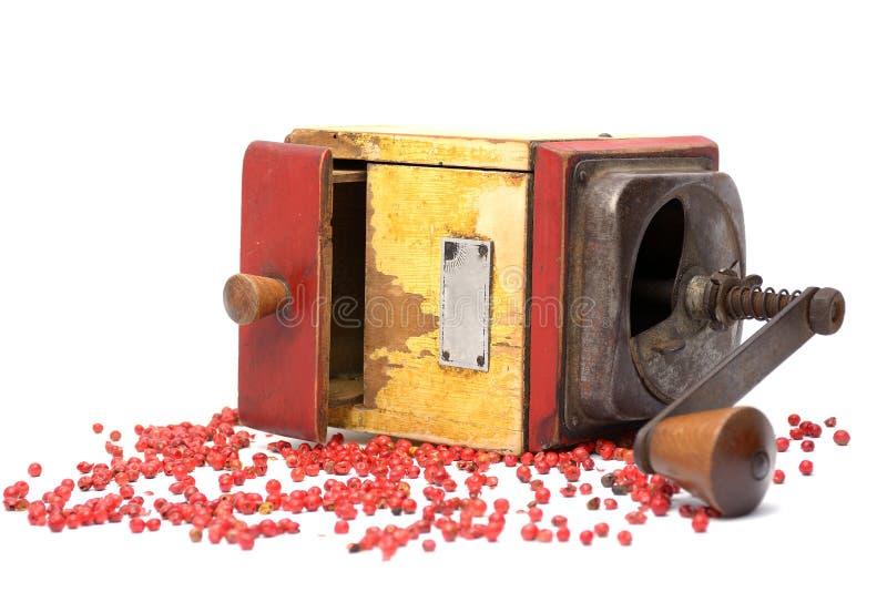 Den röda pepparen med gammal peppar maler arkivfoto