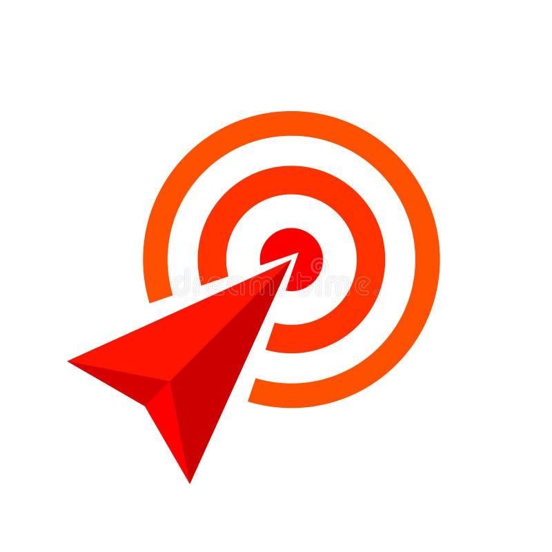 Den röda pilen av målsymbolet, pilen som det röda begreppet är, symboliserar målet och framgång, röd pillogo vektor illustrationer