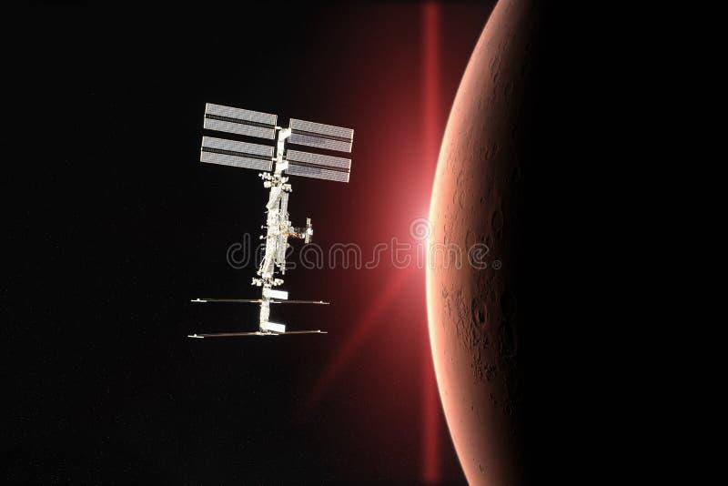 Den röda planeten fördärvar Rymdskepplansering in i utrymme Beståndsdelar av denna avbildar möblerat av NASA royaltyfri bild