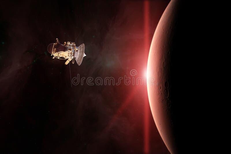 Den röda planeten fördärvar Rymdskepplansering in i utrymme Beståndsdelar av denna avbildar möblerat av NASA vektor illustrationer