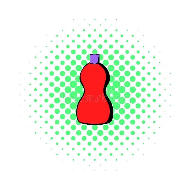 Den röda plast- flaskan av den renande symbolen, komiker utformar vektor illustrationer