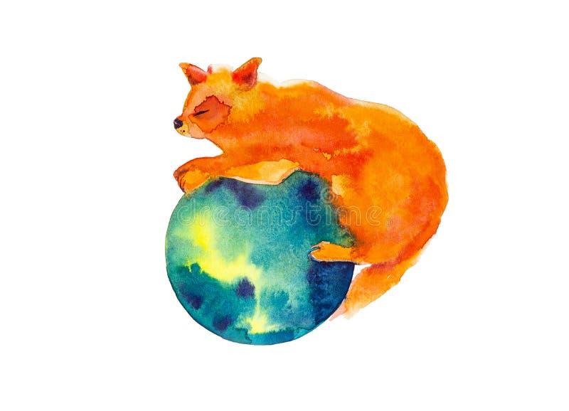 Den röda räven kramar och skyddar den gröna planetjorden Abstrakt vattenfärgillustration som isoleras på vit stock illustrationer