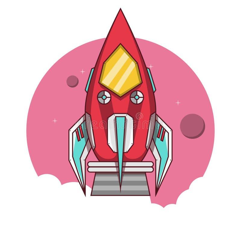 Den röda raket tar av till utrymmet stock illustrationer