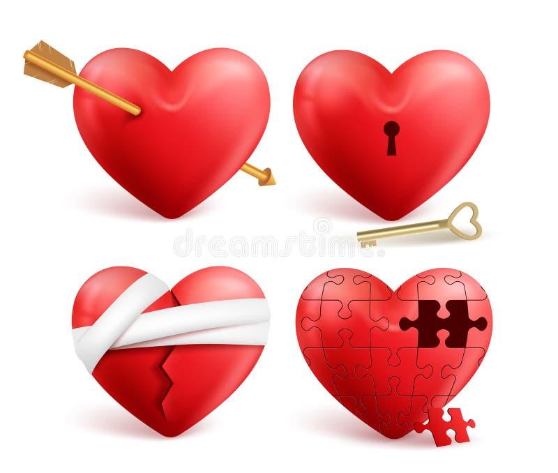 Den röda realistiska uppsättningen för hjärtavektorn 3d med pilar, nyckel- hål, pussel och förbinder vektor illustrationer