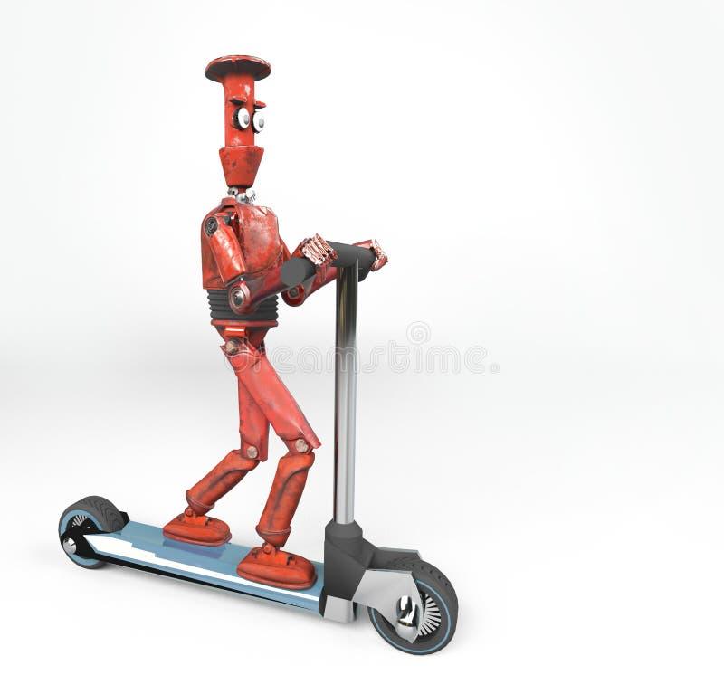 Den röda retro roboten på sparkcykeln, 3d, framför vektor illustrationer
