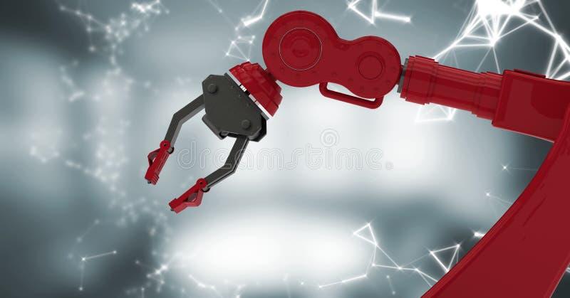 Den röda robotjordluckraren med den vita manöverenheten mot oskarpa grå färger hyr rum royaltyfri illustrationer