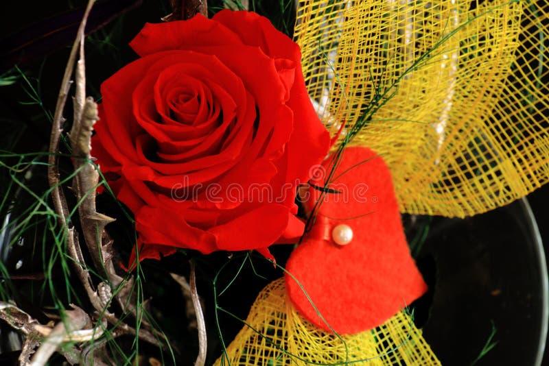 Den röda rosen smyckade med en ögla och en hjärta royaltyfri foto