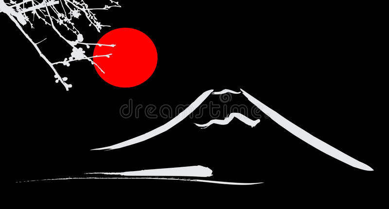 Den röda solen beskåda för Mount Fuji Kyoto och Osaka blommor stock illustrationer