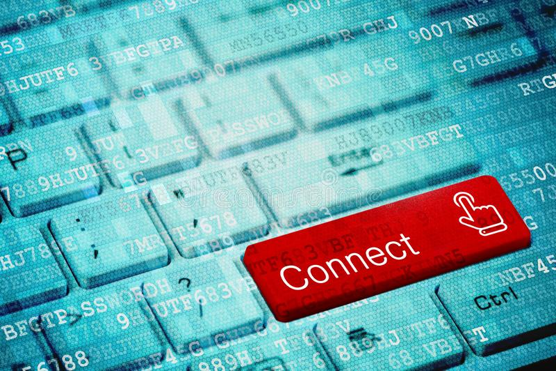 Den röda tangenten med text förbinder på det blåa digitala bärbar datortangentbordet arkivbilder