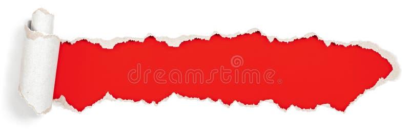 Den röda titelraden i sönderrivet pappers- spela golfboll i hål arkivfoto