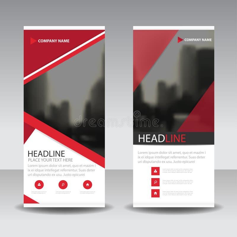 Den röda triangeln rullar upp designen för banret för affärsbroschyrreklambladet, geometrisk bakgrund för räkningspresentationsab stock illustrationer