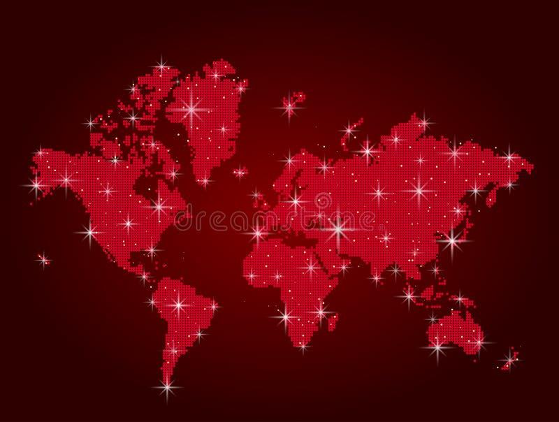 Den röda världen kartlägger pekar in stock illustrationer