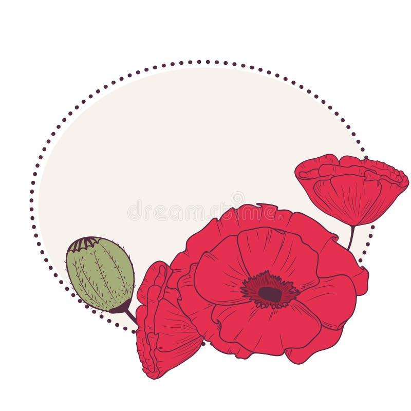 Den röda vallmo blommar den retro ramen royaltyfri illustrationer