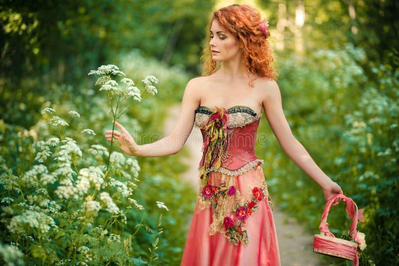 Den rödhåriga kvinnan i en röd klänning samlar blommor fotografering för bildbyråer