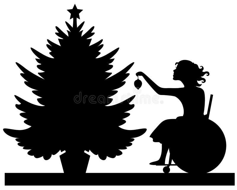 Den rörelsehindrade flickan dekorerar julgranen royaltyfri illustrationer