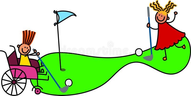 Den rörelsehindrade flickan spelar galen golf royaltyfri illustrationer