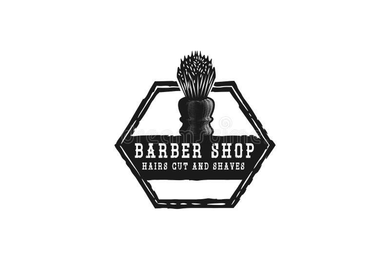 den raka borsten, den hand drog barberaren shoppar logo planlägger inspiration som isoleras på vit bakgrund stock illustrationer