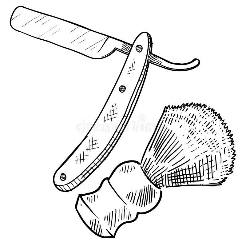 Den raka rakkniven skissar royaltyfri illustrationer