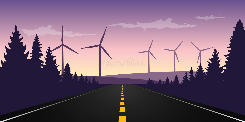 Den raka stenlade vägen till horisonten med väderkvarnen parkerar vektor illustrationer